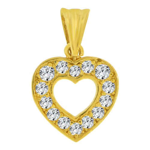 14k Yellow Gold, Small Size Open Heart Pendant Charm Created CZ Crystals  (P064-004)