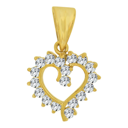 14k Yellow Gold, Small Size Open Heart Pendant Charm Created CZ Crystals  (P064-005)