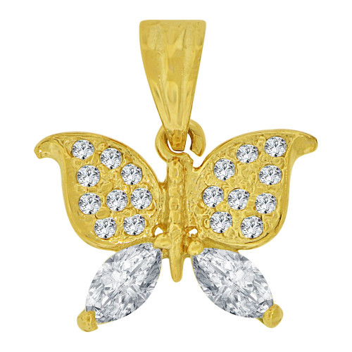 14k Yellow Gold, Small Size Butterfly Pendant Charm Created CZ Crystals (P064-006)