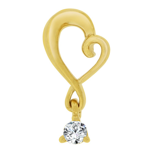14k Yellow Gold, Small Size Open Heart Pendant Dangling  Charm Created CZ Crystal (P064-007)