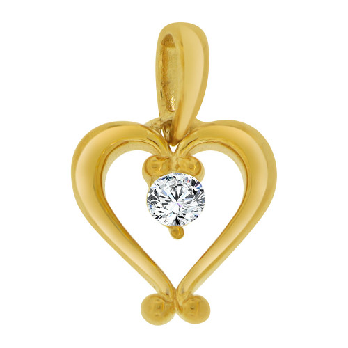 14k Yellow Gold, Contemporary Design Open Heart Pendant Charm Created CZ Crystal  (P064-009)