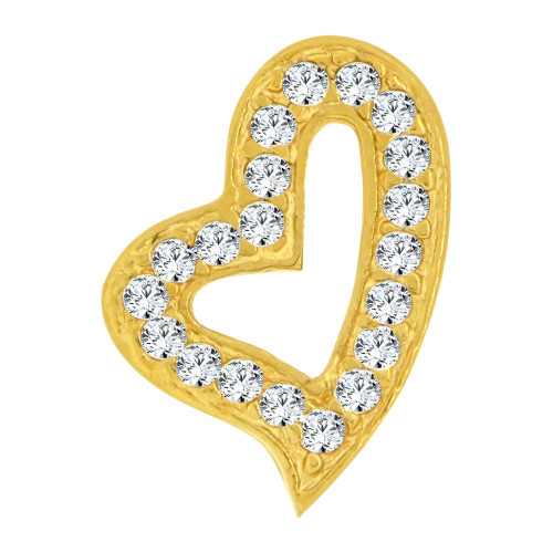 14k Yellow Gold, Small Size Skewed Open Heart Slider Pendant Charm Created CZ Crystals  (P064-012)
