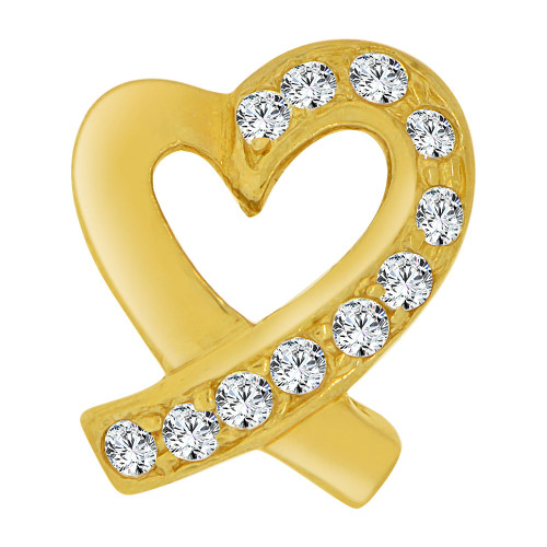 14k Yellow Gold, Contemporary Design Open Heart Slider Pendant Charm Created CZ Crystals  (P064-013)
