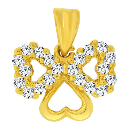 14k Yellow Gold, Small Size Triple Heart Pendant Charm Created CZ Crystals (P064-014)
