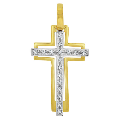 14k Yellow Gold, Modern Design Cross Pendant Religious Charm Created CZ Crystals (P064-015)