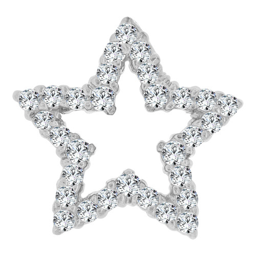 14k White Gold, Classic Star Slider Pendant Charm Created CZ Crystals (P064-051)