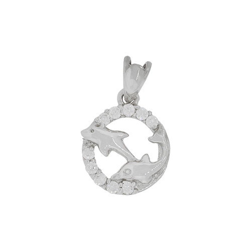 14k White Gold, Small Size Two Dolphin Mini Medallion Pendant Charm Created CZ Crystals (P064-052)