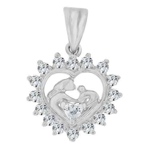 14k White Gold, Small Size Abstract Baptism Scene Heart Pendant Charm Created CZ Crystals (P064-053)