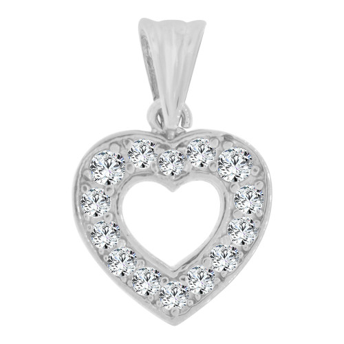 14k White Gold, Small Size Open Heart Pendant Charm Created CZ Crystals  (P064-054)