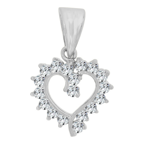 14k White Gold, Small Size Open Heart Pendant Charm Created CZ Crystals  (P064-055)