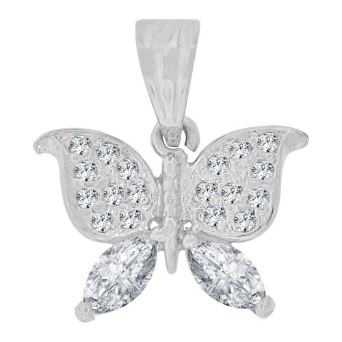 14k White Gold, Small Size Butterfly Pendant Charm Created CZ Crystals (P064-056)