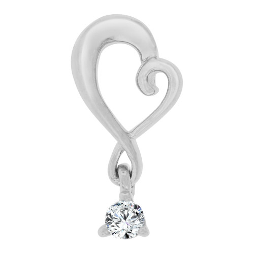 14k White Gold, Small Size Open Heart Pendant Charm Created CZ Crystal (P064-057)