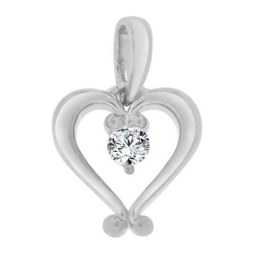 14k White Gold, Contemporary Style Open Heart Pendant Charm Created CZ Crystal (P064-059)