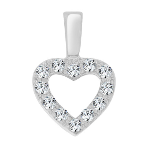 14k White Gold, Mini Size Open Heart Pendant Charm Created CZ Crystals (P064-060)