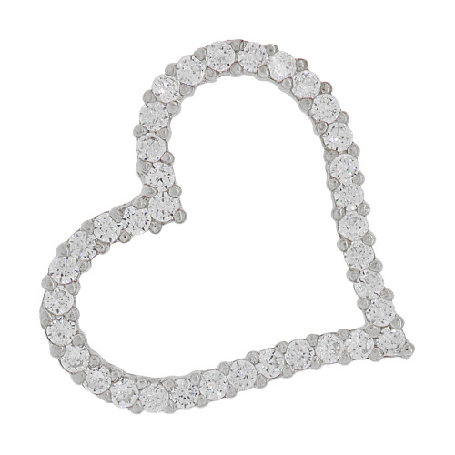 14k White Gold, Skewed Open Heart Slider Pendant Charm Created CZ Crystals (P064-061)