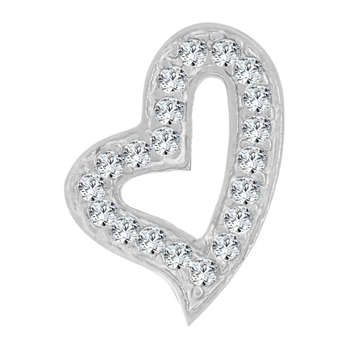 14k White Gold, Small Size Open Heart Slider Pendant Charm Created CZ Crystals (P064-062)