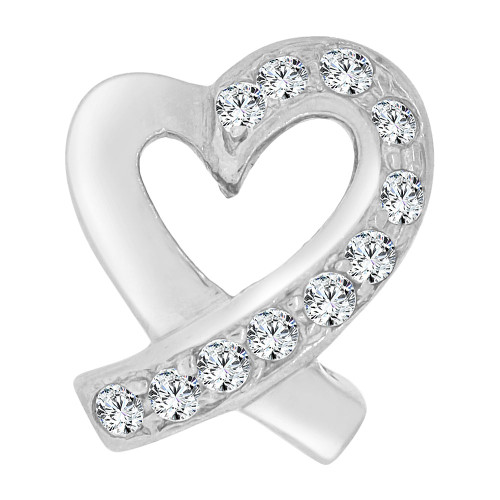 14k White Gold, Contemporary Open Heart Slider Pendant Charm Created CZ Crystals (P064-063)