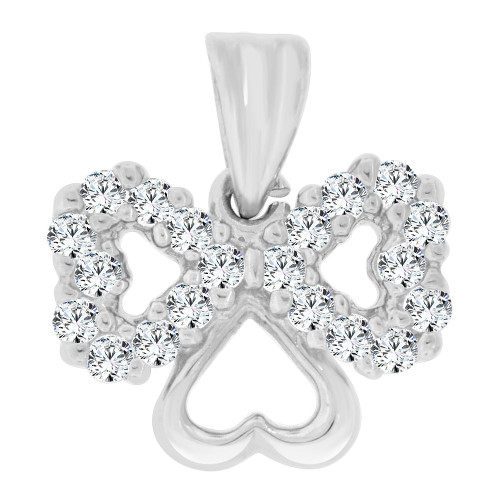14k White Gold, Small Size Triple Heart Pendant Charm Created CZ Crystals (P064-064)
