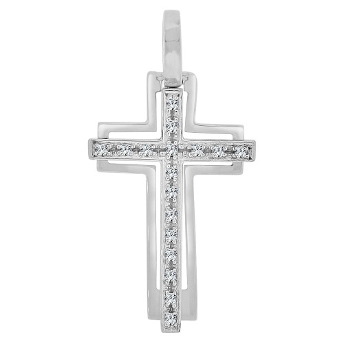 14k White Gold, Modern Design Cross Pendant Created CZ Crystals  (P064-065)