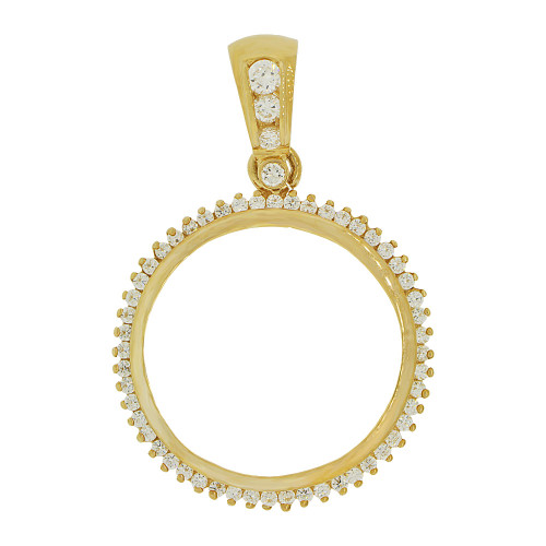 14k Yellow Gold, Coin Bezel Frame Pendant Charm Fits Round 27mm Diameter Coin (P065-001)