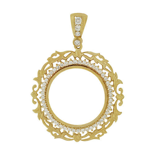 14k Yellow Gold, Fancy Filigree Border Coin Bezel Frame Pendant Charm Fits Round 27mm Diameter Coin (P065-002)