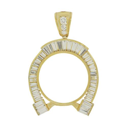 14k Yellow Gold, Lucky Horse Shoe Coin Bezel Frame Pendant Charm Fits Round 37mm Diameter Coin (P065-013)