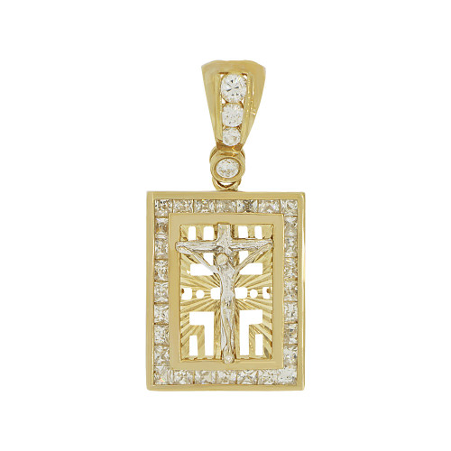 14k Yellow and White Gold, Christ Crucifixion Jesus Medallion Pendant Charm Created CZ Crystals (P065-016)