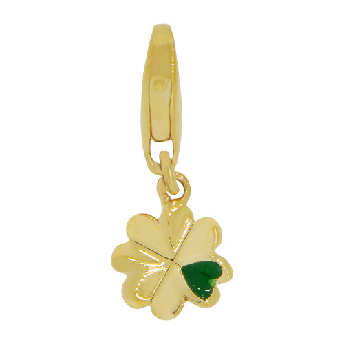 14k Yellow Gold, Mini Size Four Leaf Clover Pendant Charm Green Enamel Lobster Clasp (P064-016)
