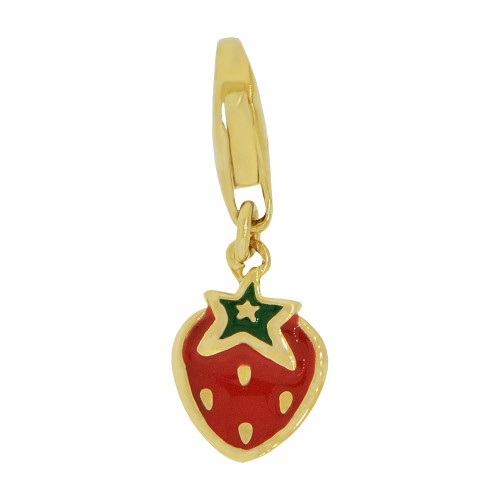 14k Yellow Gold, Mini Size Strawberry Pendant Charm Green Red Enamel Lobster Clasp (P064-018)