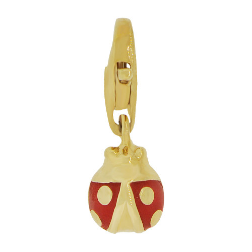 14k Yellow Gold, Mini Size Ladybug Pendant Charm Red Enamel Lobster Clasp (P064-021)
