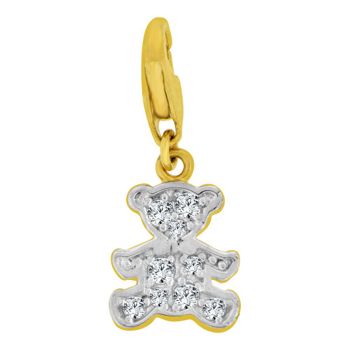 14k Yellow Gold White Rhodium, Small Teddy Bear Pendant Charm Created CZ Crystals Lobster Clasp (P064-023)