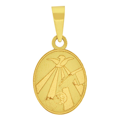 14k Yellow Gold, Small Size Precision Laser Engraved Baptism Pendant Charm Oval 11mm (P066-020)