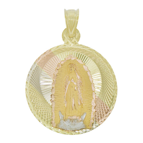 14k Tricolor Gold, Virgin Mary Religious Pendant Round Charm Sparkling Diacut 27mm (P066-022)