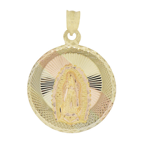 14k Tricolor Gold, Virgin Mary Religious Pendant Round Charm Sparkling Diacut 22mm (P066-023)