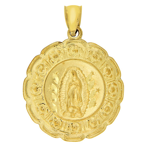 14k Yellow Gold, Reversible Religious Medal Hollow Pendant Virgin Christ Charm Round 20mm Wide (P066-029)