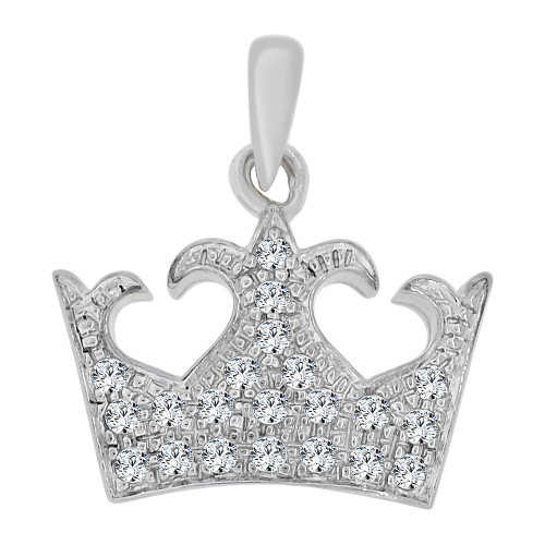 14k White Gold, Small Crown Tiara Pendant Charm Created CZ Crystals (P065-072)