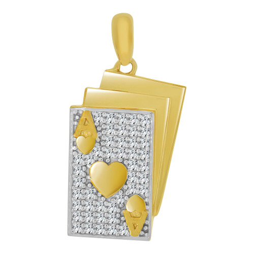 14k Yellow Gold White Rhodium, Playing Cards Poker Ace of Hearts Pendant Charm Created CZ Crystals (P065-023)