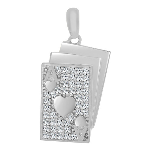 14k White Gold, Playing Cards Poker Ace of Hearts Pendant Charm Created CZ Crystals (P065-073)