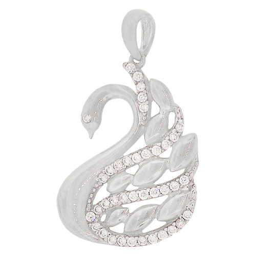 14k White Gold, Elegant Swan Pendant Charm Created CZ Crystals (P065-077)
