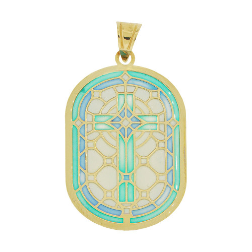 14k Yellow God, Colorful Enamel Resin Cross Religious Pendant Charm 16mm Wide  (P067-003)