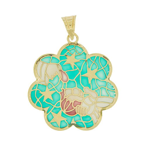 14k Yellow God, Colorful Enamel Baptism Christening Religious Pendant Charm 20mm Wide  (P067-009)
