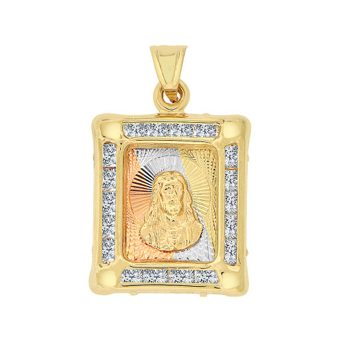 14k Tricolor Gold, Sparkling Christ Jesus Religious Pendant Charm Created CZ Crystals (P067-024)