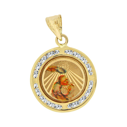 14k Yellow Gold, Mini Size Laser Textured Baptism Christening Religious Charm Created CZ Crystals (P067-019)