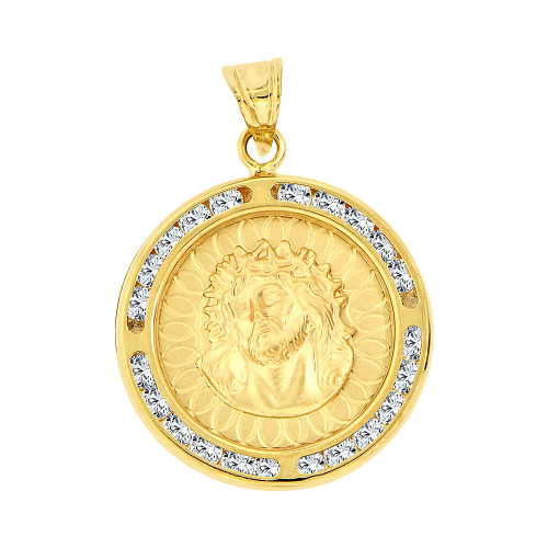 14k Yellow Gold, Christ Jesus Religious Pendant Charm Created CZ Crystals (P067-022)