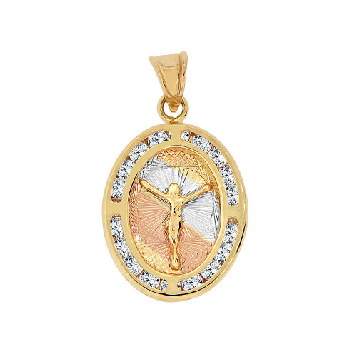 14k Tricolor Gold, Christ Jesus Crucifixion Religious Pendant Charm Created CZ Crystals (P067-021)
