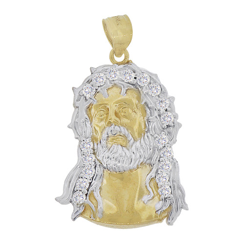 14k Yellow Gold White Rhodium, Christ Jesus Religious Pendant Charm Created CZ Crystals 19mm Wide (P067-026)