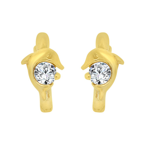 14k Yellow Gold, Dolphin Mini Hoop Stud Earring Created CZ Crystals (E018-001)