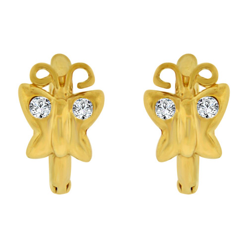 14k Yellow Gold, Butterfly Design Mini Hoop Stud Earring Created CZ Crystals (E018-003)