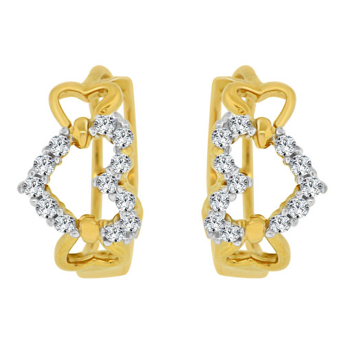14k Yellow Gold, Elegant Heart Mini Hoop Stud Earring Created CZ Crystals (E018-009)