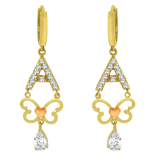 14k Yellow Gold, Modern Butterfly A Frame Dangling Earring Created CZ Crystals (E018-011)